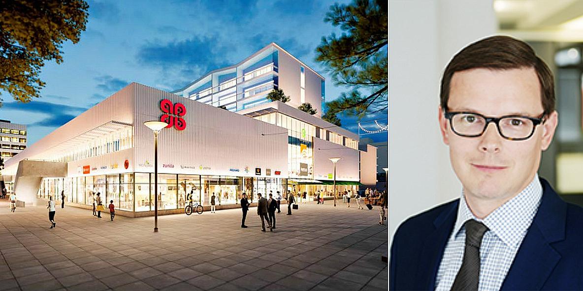 The retail park Bredis in Espoo and Samuel Granvik.